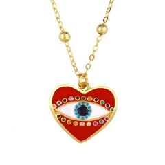 Stainless Steel Chain and Brass Pendant Necklace TTTN-0099