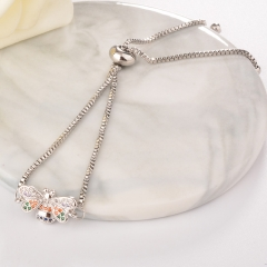 stainless steel adjustable chain copper zircon charms bracelet TTTB-0026
