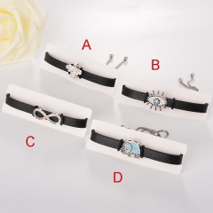 stainless steel adjustable leather jewelry copper zircon charms bracelet TTTB-0109