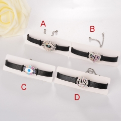 stainless steel adjustable leather jewelry copper zircon charms bracelet TTTB-0107
