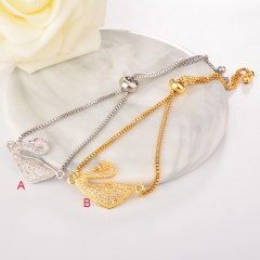stainless steel adjustable chain copper zircon charms bracelet TTTB-0020