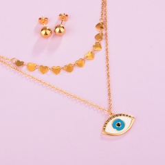 stainless steel enamel evil eye necklace earring set STAO-3815
