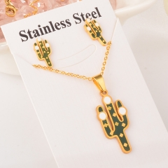 stainless steel cactus pandent and earring set XXXS-0146