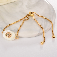 stainless steel adjustable chain copper zircon charms bracelet TTTB-0008
