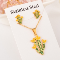 stainless steel cactus pandent and earring set XXXS-0152