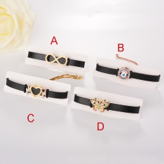 stainless steel adjustable leather jewelry copper zircon charms bracelet TTTB-0104