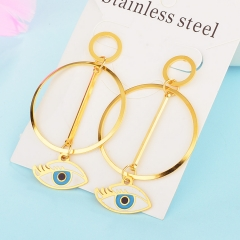 Personality Lucky Eyes Fashion Punk Stainless Steel Earrings XXXE-0070