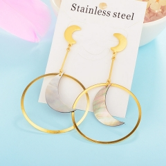 Fashion temperament long pendant earring shell stainless steel earrings women XXXE-0093