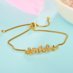 stainless steel adjustable chain copper zircon charms bracelet TTTB-0028