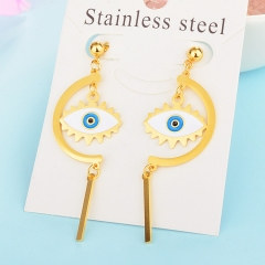 Personality Lucky Eyes Fashion Punk Stainless Steel Earrings XXXE-0067