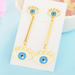 Personality Lucky Eyes Fashion Punk Stainless Steel Earrings XXXE-0062