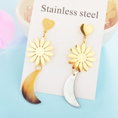 Fashion temperament long pendant earring shell stainless steel earrings women XXXE-0089