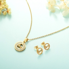 Manufacture ladies jewellery, Stainless Steel Jewelry Set 18k Gold Jewelry Wholesale  XXXS-0225