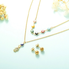 gold plated lucky eye necklace double layer necklace set for women  STAO-2435