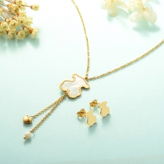 Women Necklace Set Gold Plated Stainless Steel Bear Jewelry KKSTAO-0224