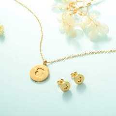 Women Necklace Set Gold Plated Stainless Steel Bear Jewelry KKSTAO-0227B