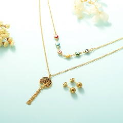 gold plated lucky eye necklace double layer necklace set for women  STAO-2434