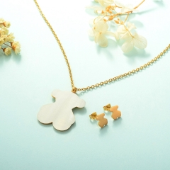 Women Necklace Set Gold Plated Stainless Steel Bear Jewelry KKSTAO-0228