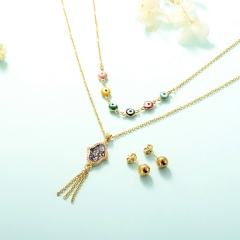 gold plated lucky eye necklace double layer necklace set for women  STAO-2436