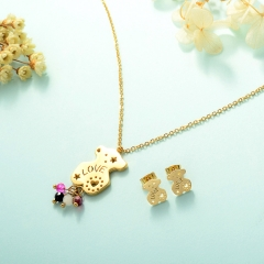 Women Necklace Set Gold Plated Stainless Steel Bear Jewelry KKSTAO-0230