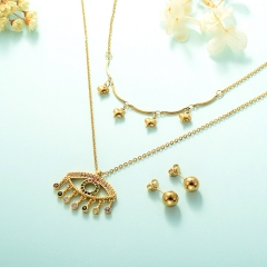 gold plated lucky eye necklace double layer necklace set for women  STAO-2444