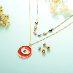 gold plated lucky eye necklace double layer necklace set for women  STAO-2439
