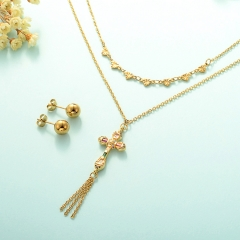 gold plated lucky eye necklace double layer necklace set for women  STAO-2445