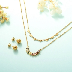 gold plated lucky eye necklace double layer necklace set for women  STAO-2446
