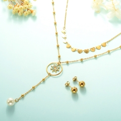 gold plated lucky eye necklace double layer necklace set for women  STAO-2448