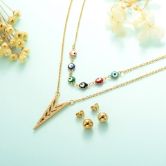 gold plated lucky eye necklace double layer necklace set for women  STAO-2441