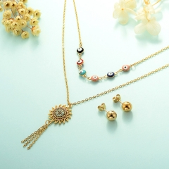 gold plated lucky eye necklace double layer necklace set for women  STAO-2442