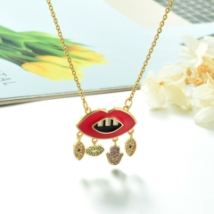 Stainless Steel Chain and Brass Pendant Necklace TTTN-0176