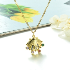 Stainless Steel Chain and Brass Pendant Necklace TTTN-0200