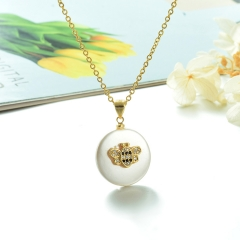 Stainless Steel Chain and Brass Pendant Necklace TTTN-0168