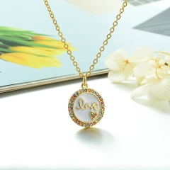 Stainless Steel Chain and Brass Pendant Necklace  TTTN-0199