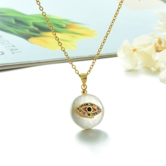 Stainless Steel Chain and Brass Pendant Necklace TTTN-0165
