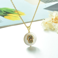 Stainless Steel Chain and Brass Pendant Necklace TTTN-0169