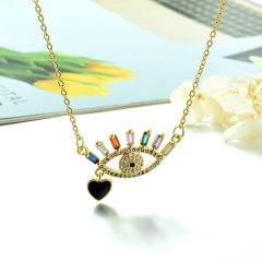 Stainless Steel Chain and Brass Pendant Necklace TTTN-0189