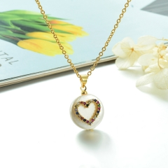 Stainless Steel Chain and Brass Pendant Necklace TTTN-0174