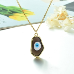 Stainless Steel Chain and Brass Pendant Necklace TTTN-0163D