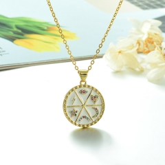 Stainless Steel Chain and Brass Pendant Necklace TTTN-0178