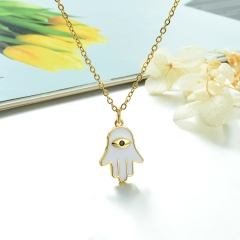 Stainless Steel Chain and Brass Pendant Necklace TTTN-0198