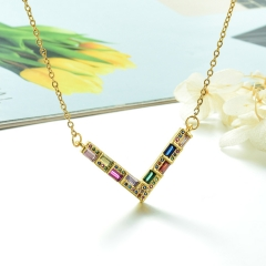 Stainless Steel Chain and Brass Pendant Necklace TTTN-0181