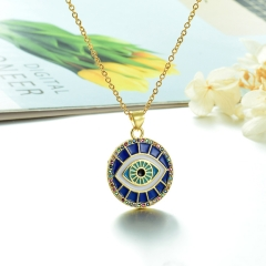 Stainless Steel Chain and Brass Pendant Necklace TTTN-0160