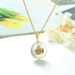Stainless Steel Chain and Brass Pendant Necklace TTTN-0166