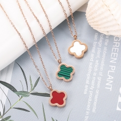 Clover Stainless Steel Necklace NS-0418D