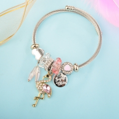 Stainless Steel Bracelet With Alloy Charms BS-1852