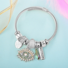 Stainless Steel Bracelet With Alloy Charms BS-1840A
