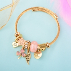Stainless Steel Bracelet With Alloy Charms BS-1848B