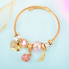 Stainless Steel Bracelet With Alloy Charms BS-1838B